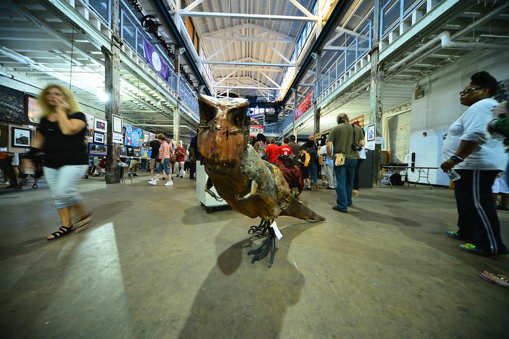 . Steel Tyranosaur by David Jackson is seen at Art All Night on June 18, 2016. (For The Trentonian - Scott Ketterer)