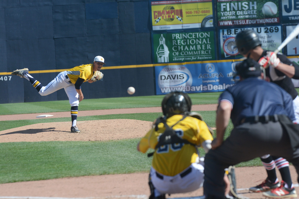 . Nottingham�s Ron Voacolo pitches during Monday�s game at Arm & Hammer Park in Trenton. John Berry - The Trentonian