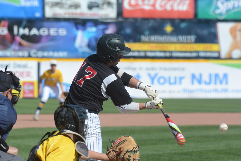 . Allentown�s Chris Reeder bats during Monday�s game against Nottingham at Arm & Hammer Park in Trenton. 