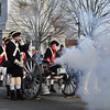 Colonial Soldiers fire a cannon from the base of the Battle Monument toward  battle with British and Hessian troops during the First Battle of Trenton On Saturday Dec. 31, 2016. (Scott Ketterer - The Trentonian)