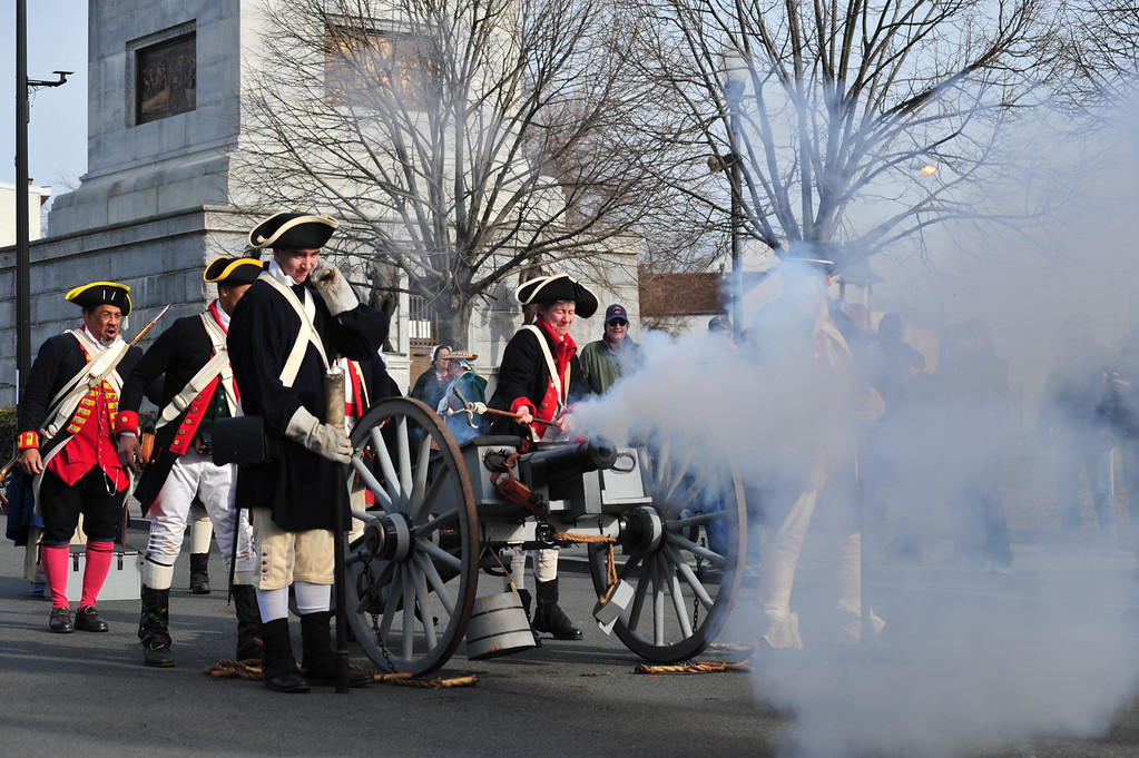 . Colonial Soldiers fire a cannon from the base of the Battle Monument toward  battle with British and Hessian troops during the First Battle of Trenton On Saturday Dec. 31, 2016. (Scott Ketterer - The Trentonian)