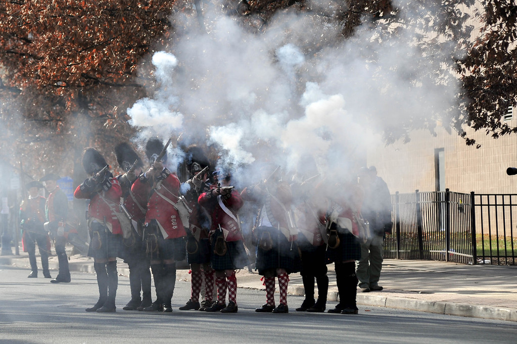 . Scottish Soldiers return fire at advancing Colonial Patriots during the First Battle of Trenton on Saturday Dec. 31, 2016. (Scott Ketterer - The Trentonian)