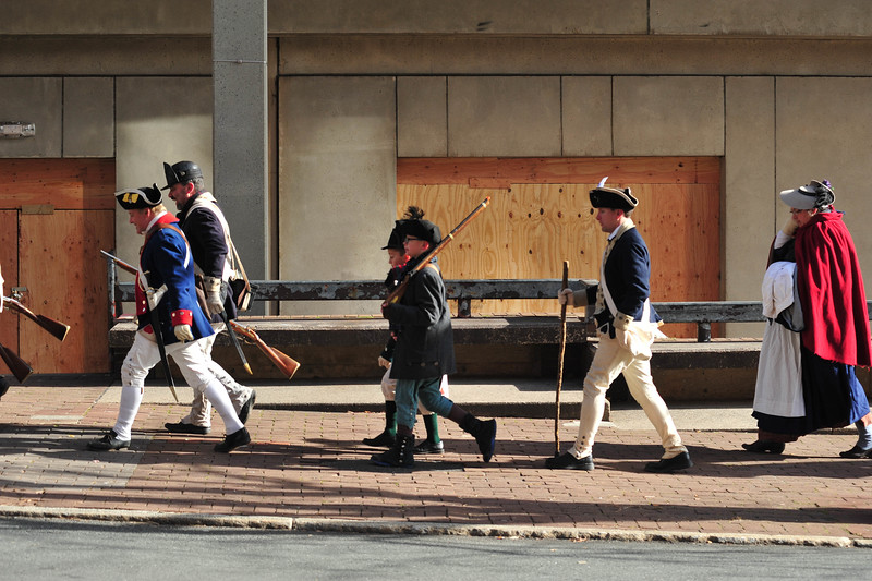 Reenactors march following the conclusion of the First Battle of Trenton Reenactment on Saturday Dec. 31, 2016. (Scott Ketterer - The Trentonian)