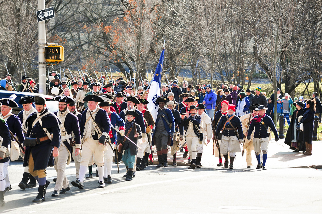 . Reenactors march following the conclusion of the First Battle of Trenton Reenactment on Saturday Dec. 31, 2016. (Scott Ketterer - The Trentonian)
