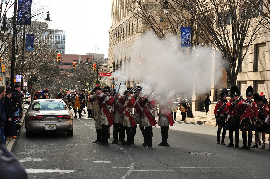 . British soliders return fire on the advancing Continental Army on Saturday Dec. 31, 2016 during the First Battle of Trenton. (Scott Ketterer - The Trentonian)
