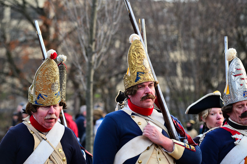 hessians march out following the Second Battle of Trenton in Mill Hill Park on Saturday Dec. 31, 2016. (Scott Ketterer - The Trentonian)