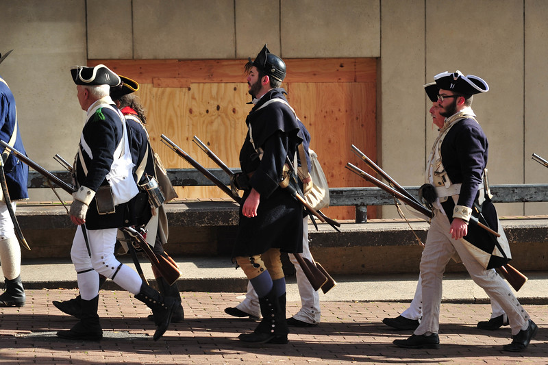 Reenactors march following the First Battle of Trenton Reenactment on Saturday Dec. 31, 2016. (Scott Ketterer - The Trentonian)