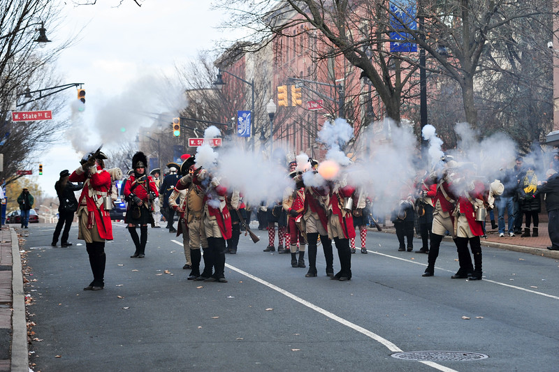 Reenactors dressed as Redcoats  battle with Colonial Soliders during the Second Battle of Trenton on Saturday Dec. 31, 2016. (Scott Ketterer - The Trentonian)