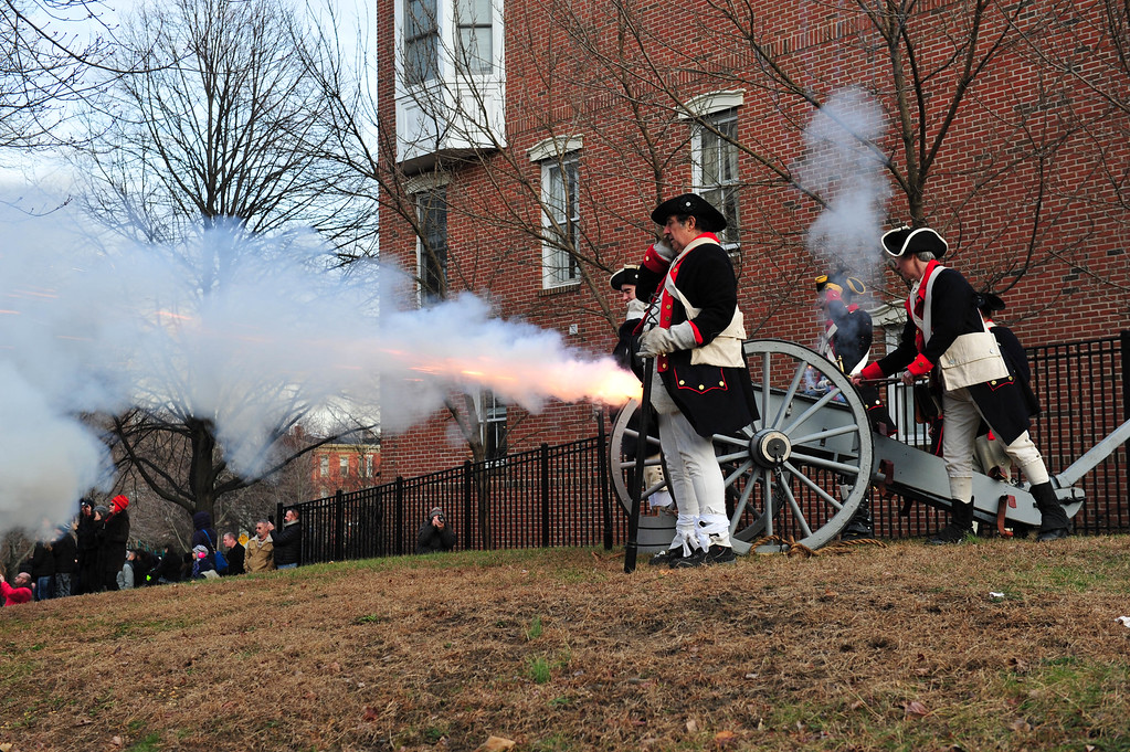 . Colonial Soldiers fire a cannon during the Second Battle of Trenton On Saturday Dec. 31, 2016 in Mill Hill Park. (Scott Ketterer - The Trentonian)