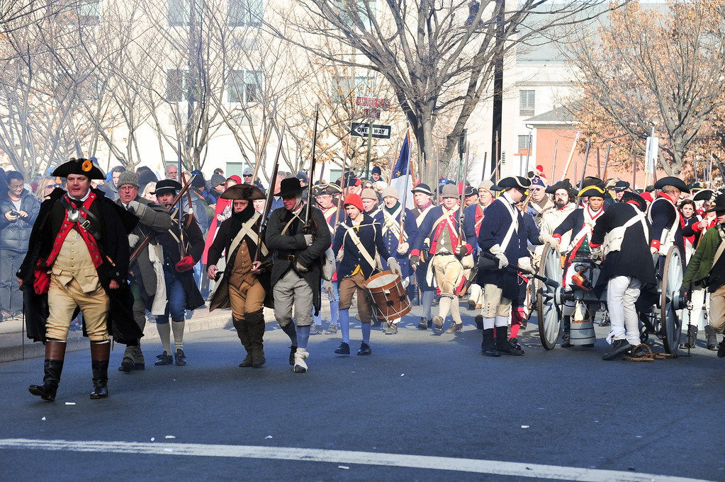 . Colonial Soldiers advance on British and Hessian troops during the First Battle of Trenton On Saturday Dec. 31, 2016. (Scott Ketterer - The Trentonian)