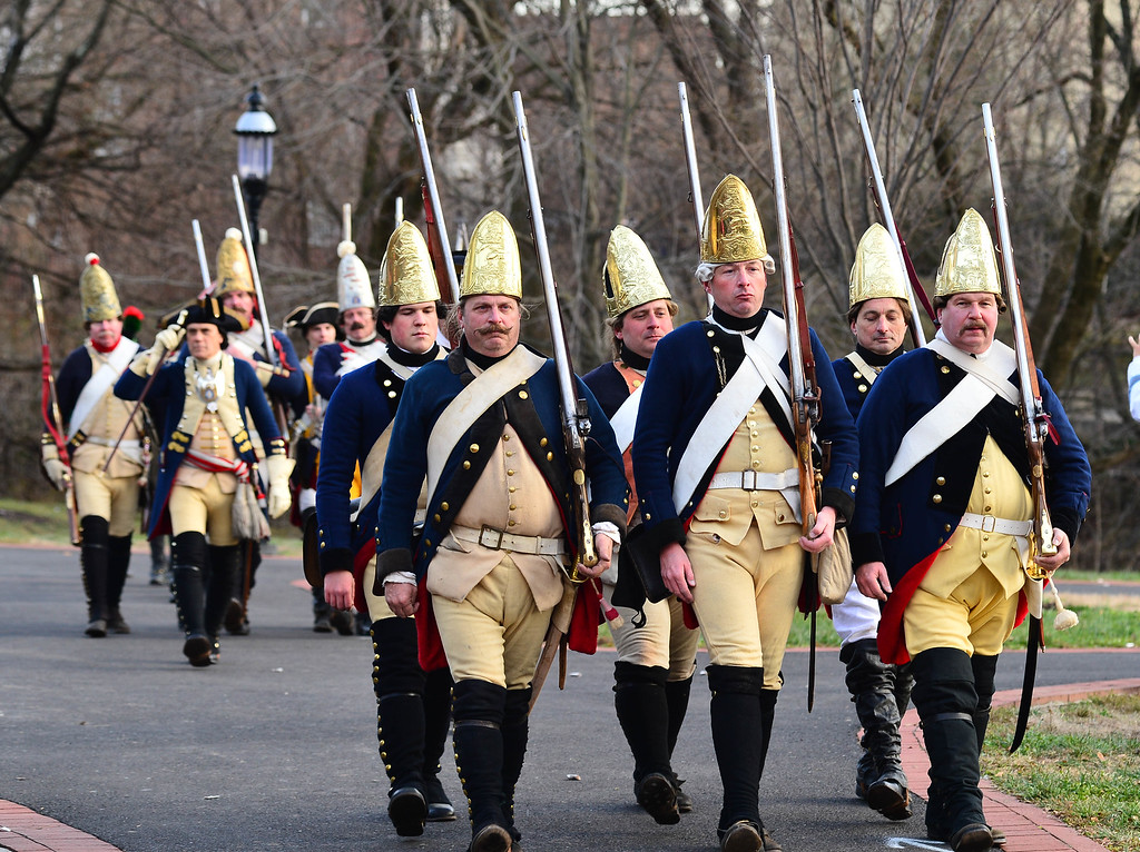 . Hessians march out following the Second Battle of Trenton in Mill Hill Park on Saturday Dec. 31, 2016. (Scott Ketterer - The Trentonian)