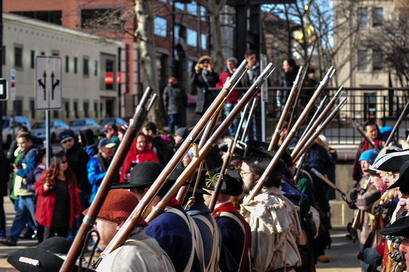 Reenactors march across State Street during the First Battle of Trenton Reenactment on Saturday Dec. 31, 2016. (Scott Ketterer - The Trentonian)