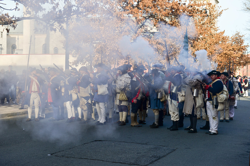 Reenactors level and fire their muskets during the First Battle of Trenton Reenactment on Saturday Dec. 31, 2016. (Scott Ketterer - The Trentonian)