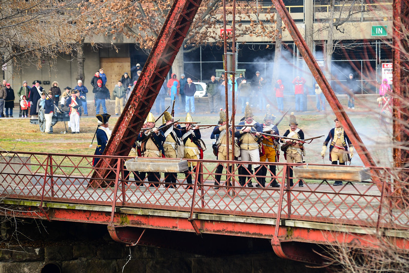 Hessians fire upon Colonial Troops during the Second Battle of Trenton in Mill Hill Park on Saturday Dec. 31, 2016. (Scott Ketterer - The Trentonian)