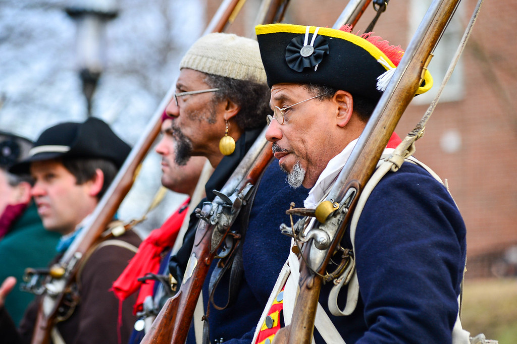 . Reenactors shoulder their weapons during the Second Battle of Trenton on Saturday Dec. 31, 2016. (Scott Ketterer - The Trentonian)