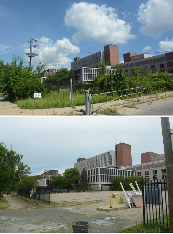 . The former Mercer Hospital on Bellevue Ave in Trenton, top on Friday and bottom on Saturday after volunteers and city workers cleaned up the block.