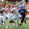 Lawrence`s Davon Hemingway(10) carries the ball against Ewing. gregg slaboda photo