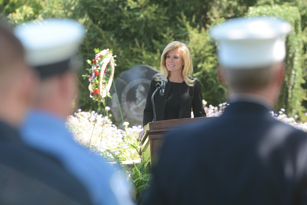. Hamilton Mayor Kelly Yeade speaks at the September 11th memorial service in Veterans Park Monday on the 16th anniversary of the September 11th terrorist attacks.