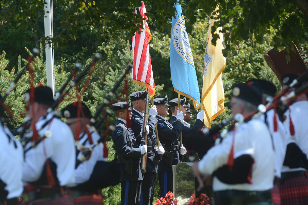 . Color guard present the flags at the begining of the September 11th memorial service in Veterans Park Monday on the 16th anniversary of the September 11th terrorist attacks.