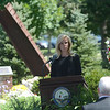 Hamilton Mayor Kelly Yeade speaks at a memorial service at the September 11th memorial in Veterans Park Monday on the 16th anniversary of the September 11th terrorist attacks.<br /> John Berry - The Trentonian