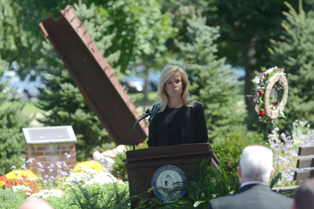 . Hamilton Mayor Kelly Yeade speaks at a memorial service at the September 11th memorial in Veterans Park Monday on the 16th anniversary of the September 11th terrorist attacks.