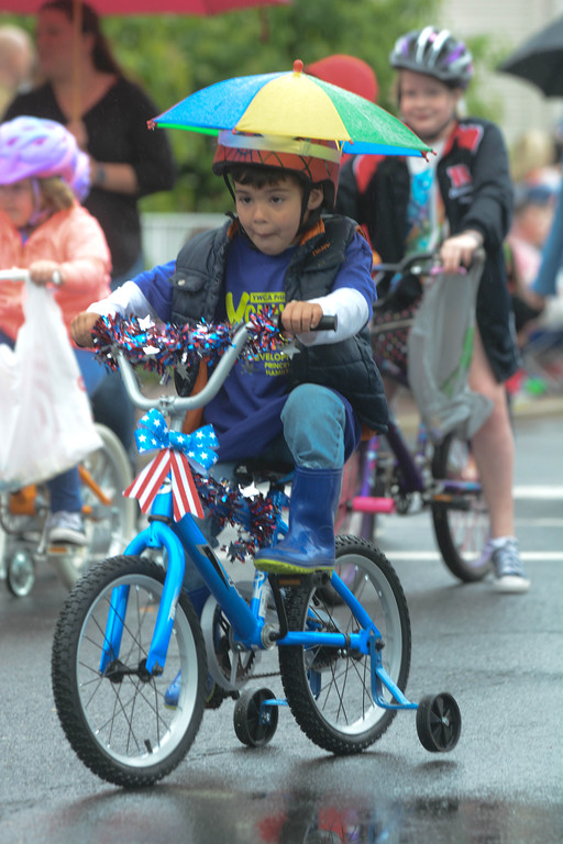 . Some parade participants were prepared for the inclement weather at the Hamilton Square Memorial Day parade Monday.