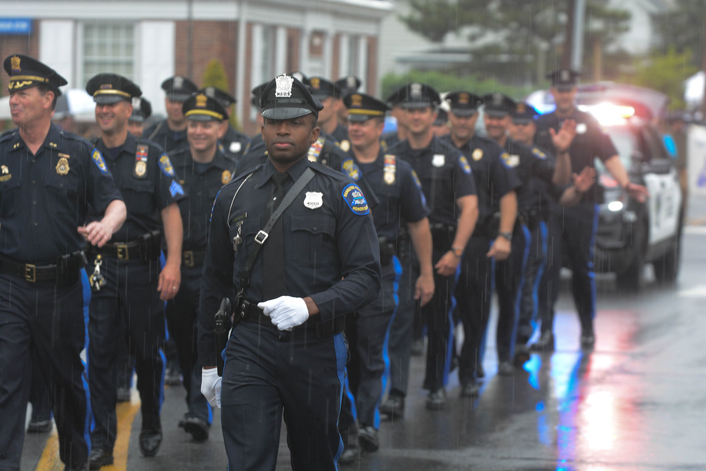 . Hamilton Police march in the Hamilton Square Memorial Day parade Monday.