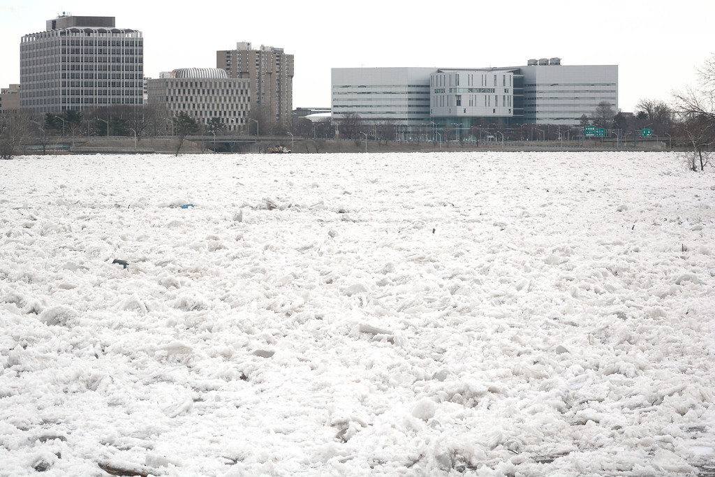 . An ice jam on the Delaware river closed down roads on both sides of the river Monday morning as flooding and icy conditions made roads dangerous. 