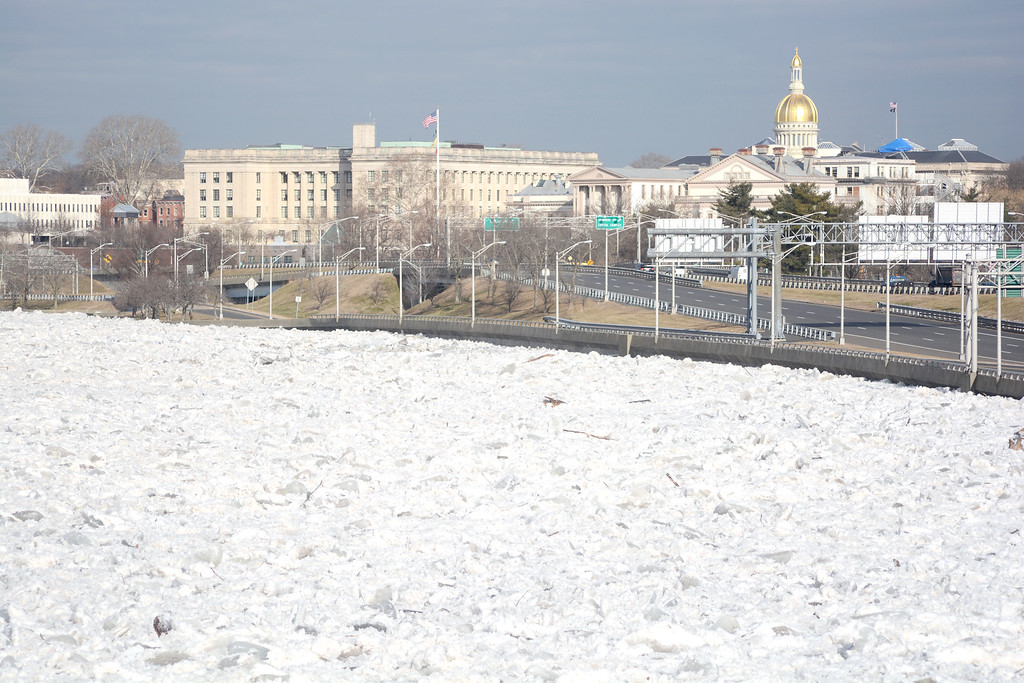 . Ice in the Delaware river along 29 in Trenton caused road closures along the highway for much of Monday morning. 