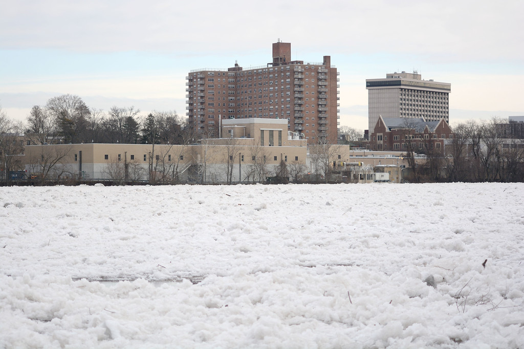 . The Trenton Water Works building seen from across the frozen Delaware Monday morning. 