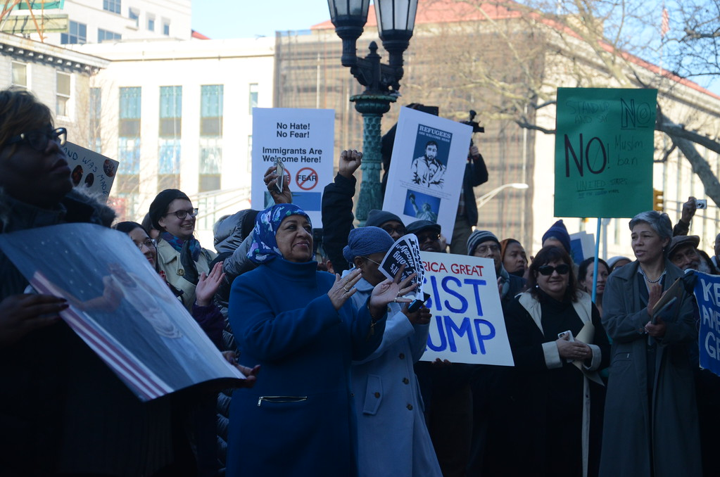 . Hundreds gathered at Trenton City Hall to denounce President Donald Trump\'s immigration ban. February 6, 2017 (Penny Ray - Trentonian)