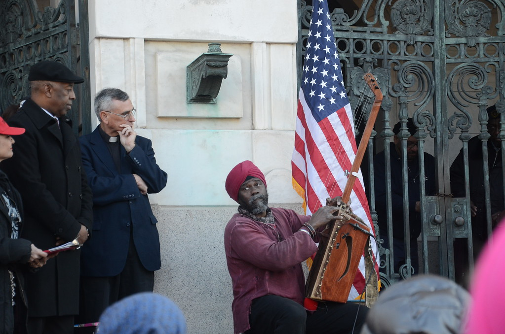 . Hundreds gathered at Trenton City Hall to denounce President Donald Trump\'s immigration ban. February 6, 2017 (Penny Ray - Trentonian)
