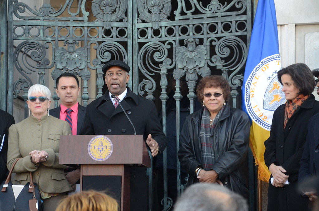 . Mayor Eric Jackson (center), Senator Shirley Turner (right of him), Assemblywoman Liz Maher Muoio (far right) and Councilwoman Marge Caldwell-Wilson (far left) attend a Unity Rally outside Trenton City Hall. February 6, 2017 (Penny Ray - Trentonian)