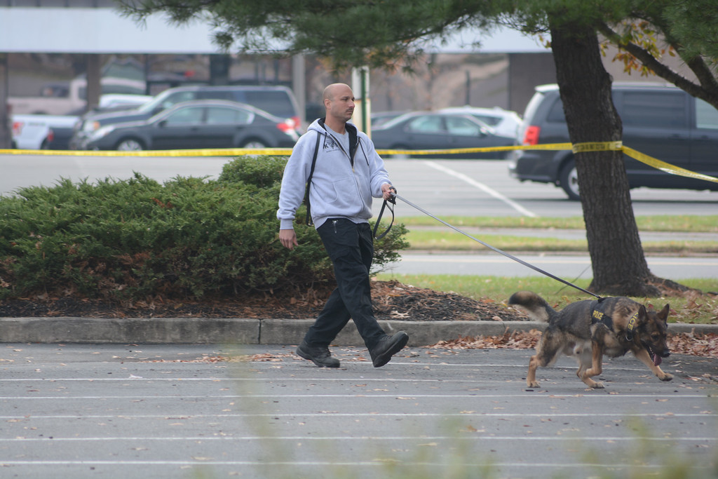 . A canine unit searches the parking lot outside the Applebee�s in Lawrence after a murder happened in the restaurant early Tuesday morning.