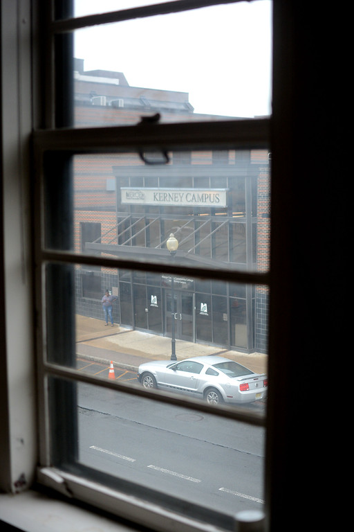 . The view from inside 101 N. Broad St in Trenton shows the main building of the James Kerney Campus. 101 will be fixed up for use by Mercer County Community College�s Trenton campus. 