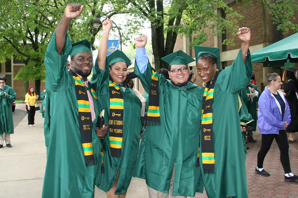 . Students just before MCCC�s 2018 Commencement Ceremony.
