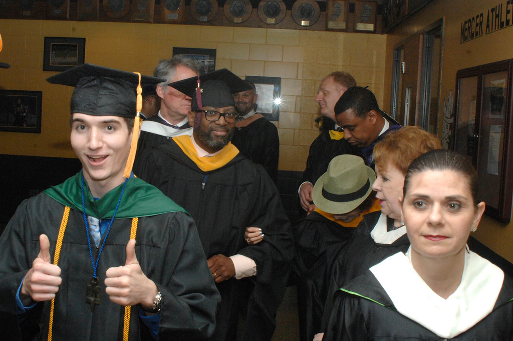 . Podium guests lining up before commencement.Courtesy of Mercer County Community College