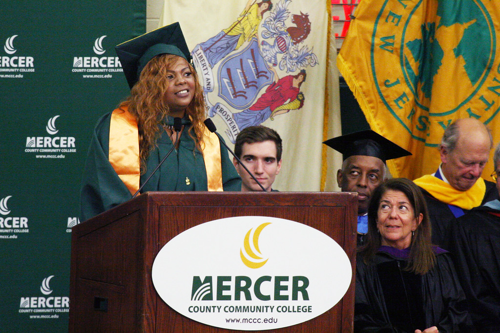 . Trenton resident Latasha White, a mother of three, received her degree in Public Health Thursday and will receive her Nursing degree in December. She was chosen as the student speaker for MCCC�s Class of 2018 Commencement Ceremony.