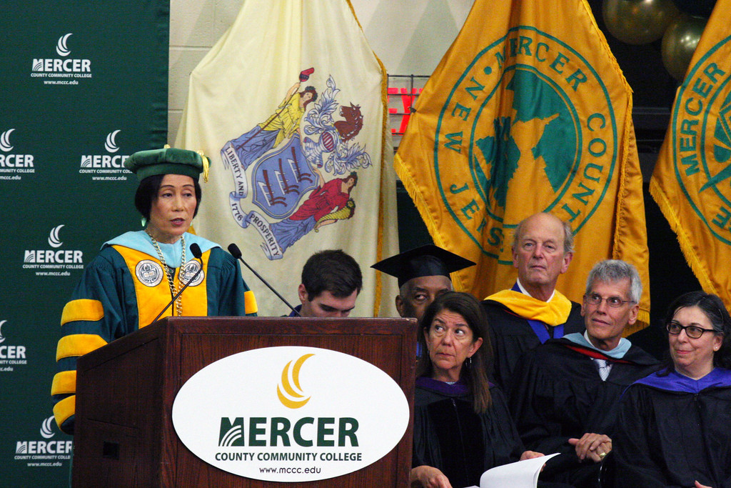 . MCCC President Dr. Jinaping Wang addressing the students. Courtesy of Mercer County Community College