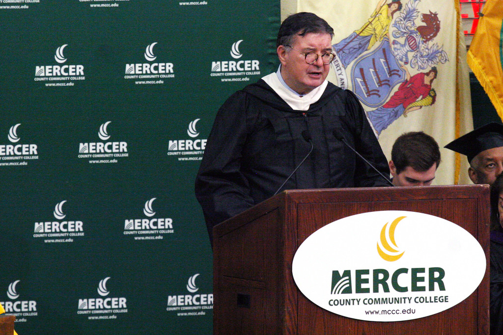 . Mercer County Executive Brian M. Hughes addresses the MCCC Class of 2018. Courtesy of Mercer County Community College