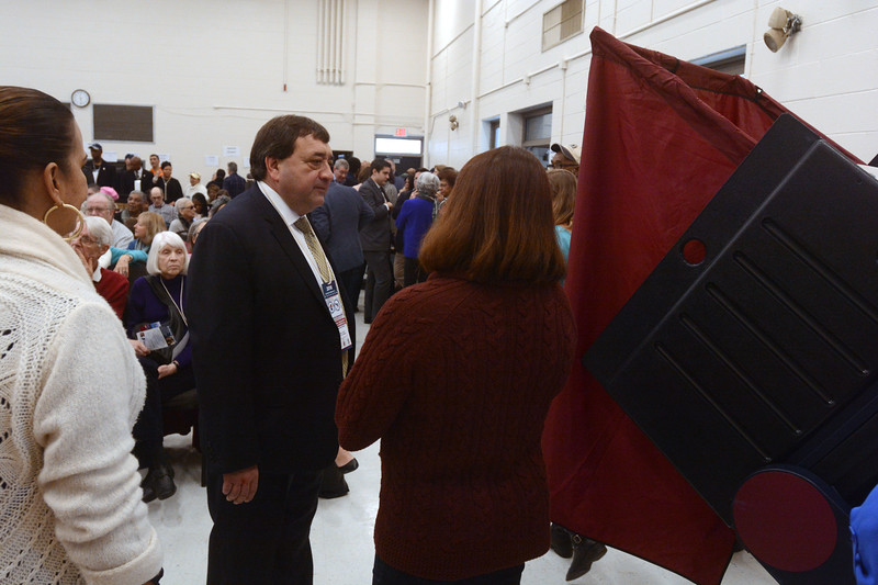 Mercer County Freeholder Anthony Verrelli, a candidate for the seat vacated by Liz Muoio in the State Assembly, waits his turn to vote Saturday. <br /> John Berry - The Trentonian
