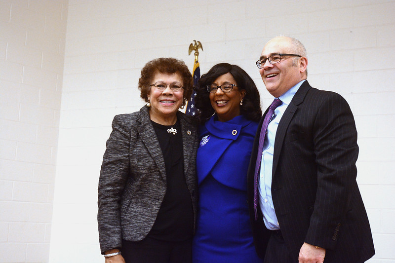 State Senator Shirley Turner, Verlina Reynolds-Jackson and State Assemblyperson Reed Guscioracelebrate together as Democrats selected Reynolds-Jackson to fill the 15th District Assembly seat vacated by Liz Muoio.<br /> John Berry - The Trentonian.