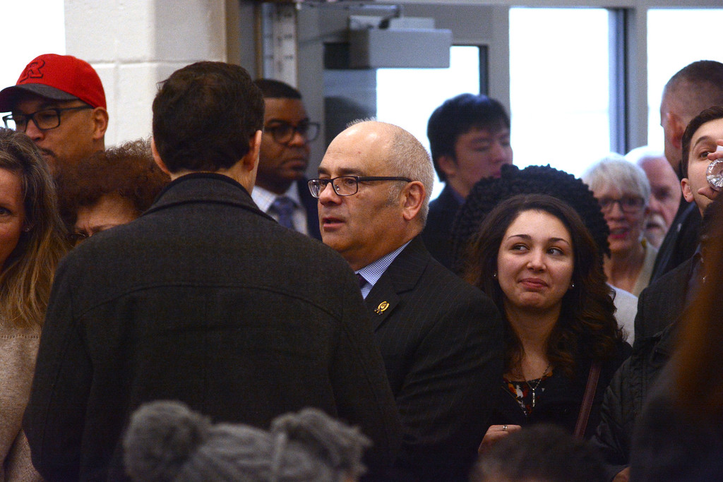 . State Assemblyman Reed Gusciora talks to people at the Ewing Community Center where democrats met to fill the 15th Legislative District Assembly seat vacated by Liz Muoio.