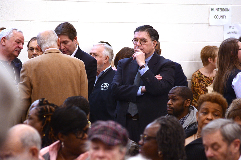Mercer County Executive Brian Hughes watches the action as Democrats selected Verlina Jackson-Reynolds to fill the 15th Legislative District Assembly seat vacated by Liz Muoio.<br /> John Berry - The Trentonian