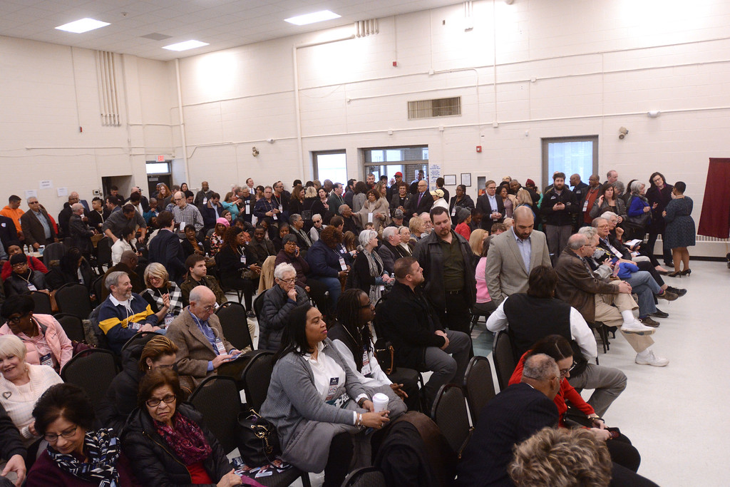 . A packed room at the Ewing Community Center to fill the 15th Legislative District Assembly seat vacated by Liz Muoio.
