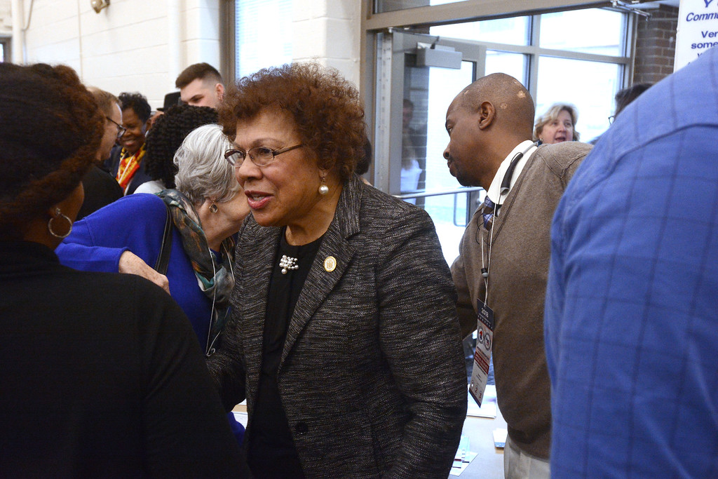 . State Senator Shirley Turner talks to fellow Democrats at the convention to elect a new State Assemblyperson for the 15th District. 