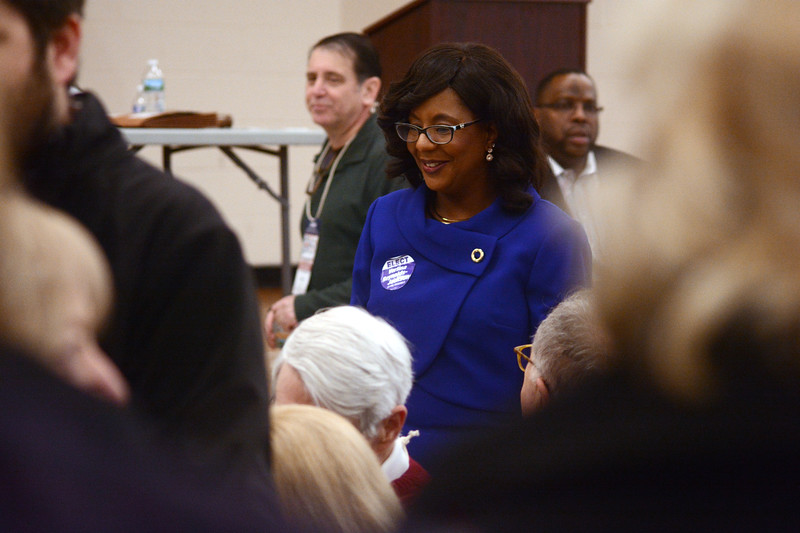Verlina Reynolds-Jackson talks to people at the Democratic convetion to fill the 15th Legislative District Assembly seat vacated by Liz Muoio.<br /> John Berry - The Trentonian