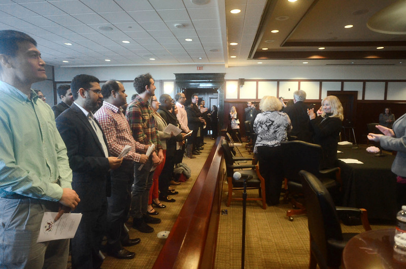 The Federal Courthouse in Trenton hosted a naturalization ceremony Monday to administer the oath of citizenship for 32 candidates from 19 different countries.<br /> John Berry - The Trentonian