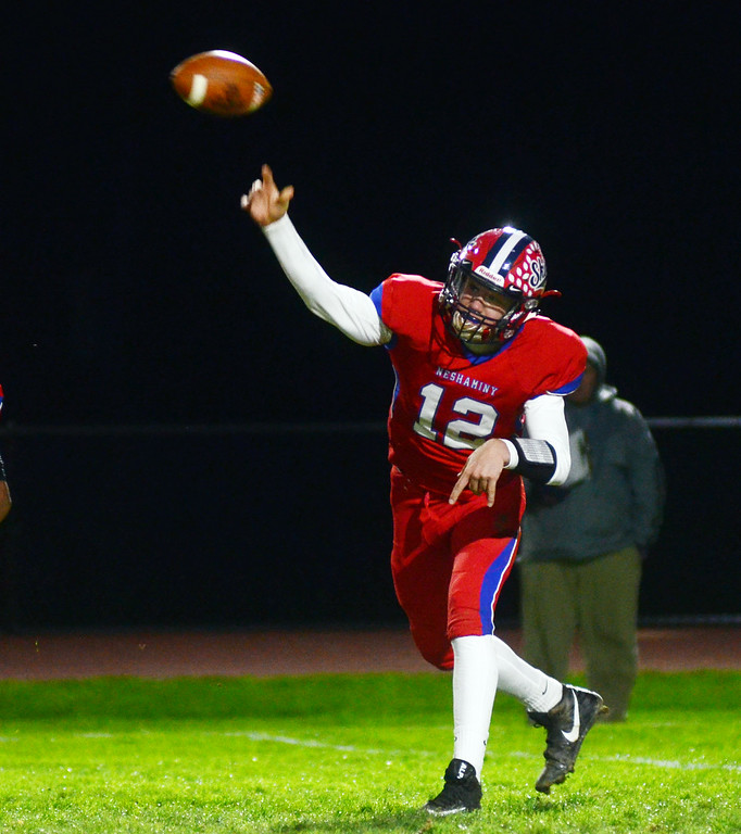 . Neshaminy`s quarterback  Brody McAndrew throws a pass against Pennsbury. gregg slaboda photo
