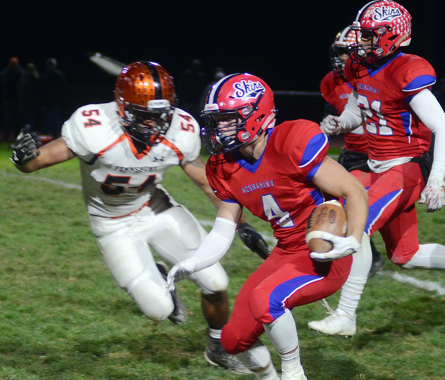 . Neshaminy`s Ryan O`Connor(4) looks for running room against Pennsbury. gregg slaboda photo